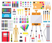 Art supplies. Painting and drawing materials, creative art tools, artistic supplies, paints, brushes and sketchbook vector illustration icons set