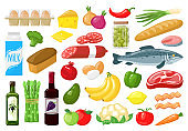 Grocery products. Food shopping vegetables, milk, meat, bread, cheese and fruits, healthy everyday meal groceries vector illustration set