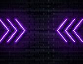 Futuristic Sci Fi Modern Neon Violet Glowing Arrows Frame for Banner on Dark Empty Grunge Concrete Brick Background.