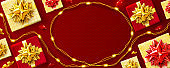 Red background for Christmas and Happy New Year poster
