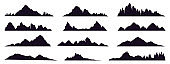 Mountains silhouette. Mountain peak, hills tops, berg and mountain valley silhouette, Tibet or Alps mountains sketch vector illustration set