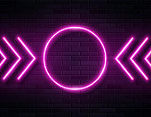 Futuristic Sci Fi Modern Neon Pine Glowing Arrows Frame for Banner on Dark Empty Grunge Concrete Brick Background.