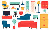 Home furniture. Living room interior sofa, armchair, lamp, bookcase, tv, cabinet and coffee table. Domestic room furniture vector illustration set