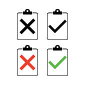 Check list , checklist set flat web icon isolated white background. Mark symbol, document collection test, vector illustration