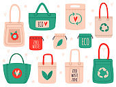 Reusable bags. Fabric recycling symbol shopping bags, zero waste hand drawn ecology shoppers. Eco friendly tote bags vector illustration set