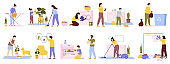 Householder cleaners. Family cleaning house, daily home routines, washing, vacuuming, ironing. Domestic housekeeping vector illustration set