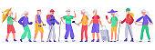 Elderly people. Crowd of active senior elderly people, healthy grandmother, grandfather recreation, old men and women vector illustration set