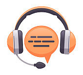 Headphones support service. Online customer support, consultant or hotline, call center concept. Headset customer support vector illustration