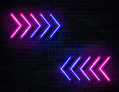 Futuristic Sci Fi Modern Neon Pink and Blue Gradient Glowing Arrows
