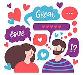Chatting couple. Male and female romantic online dating, love messages, cute chatting lovers characters. Virtual relationships vector illustration