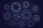 Celebration 4th July USA fireworks. Festival firecracker, colorful fireworks explosions, carnival party firework vector illustration