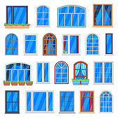 Window frames. Wooden house windows, retro room window frames, house wall plastic windows. Architecture exterior elements vector illustrations