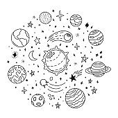 Doodle solar system. Hand drawn sketch planets, cosmic comet and stars, astronomy space doodles. Celestial solar system vector icons illustration