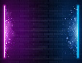 Retro Abstract Blue And Purple Neon Lights On Black Brick Wall