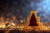 Wooden Christmas Tree Decoration - Ornament Decoration Defocused Bokeh Background