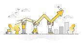 Progress line growth as performance improvement rise monocolor outline concept