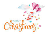 Merry Christmas hand drawn lettering with santa floating by pink heart shape balloon and cloud.