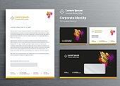 Classic stationery business Corporate Identity template design,  Brochure, flyer Digital Communication report Vector illustration mockup