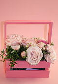 postcard template, copy speys- pink roses in a basket on a pink background