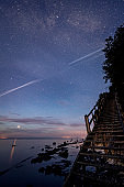 Night sky picture of th Milky Way at the  Cliffs at Mons Klint in Denmark