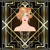 Art Deco vintage invitation template design with illustration of flapper girl. patterns and frames. Retro party background set (1920's style). Vector for glamour event.