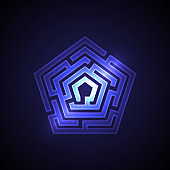 Abstract maze background with glowing light