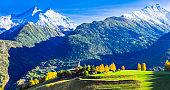 Idyllic nature scenery. Mountain village in beautiful Valle d'Aosta. Northern Italy