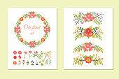 Set of cute wreath, borders, flowers