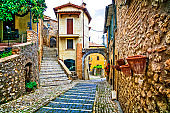 Charming narrow streets of old traditional villages in Italy. Casperia, Rieti province