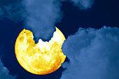 full Grain blood moon silhouette dark cloud on the night sky