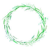 Meadow grassround frame wreath in green colors