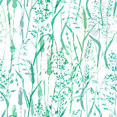 Vector grass seamless pattern in cold green colors