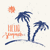 Hand drawn summer print with palms, sun and hello summer lettering