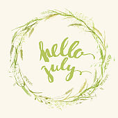 Meadow grass wreath in green colors with lettering inside