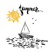 Hand drawn summer print with ocean, sun and sailboat