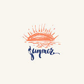 Hand drawn summer design with sunset beach scene and brush lettering