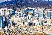 Aerial shot of Seoul City Skyline, South Korea.