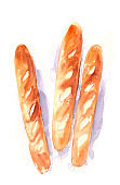 Hand drawn watercolor french baguettes on white background