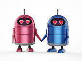 Android robot in love