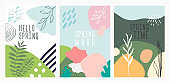 Spring trendy design posters set. Abstract geometric shapes background. Green vector illustration. Posters, covers, flyers, banners template