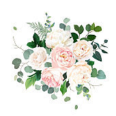 Dusty pink blush, white and creamy rose flowers vector design wedding bouquet.