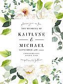 Creamy peony, white rose, eucalyptus, spring greenery, sage, berry, plants