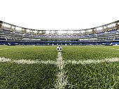 Green grass at kick off or start spot
