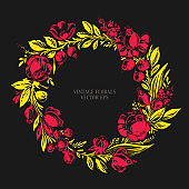 Hand drawn floral frame with roses, dahlia, poppy, berries leaves in traditional red and gold yellow colors