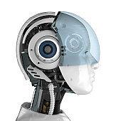 Female cyborg with goggle