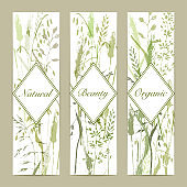 Meadow grass silhouttes banners in green colors