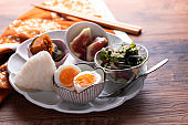 Delicious Japanese cuisines on a wooden table