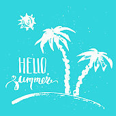 Hand drawn summer design with palm trees, sun and lettering