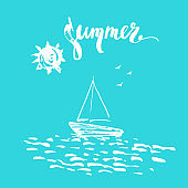 Hand drawn summer print with sun, boat, birds and ocean waves on turquoise background