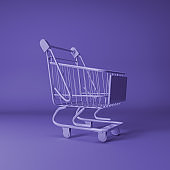purple shopping trolley on purple background 3d stock photo